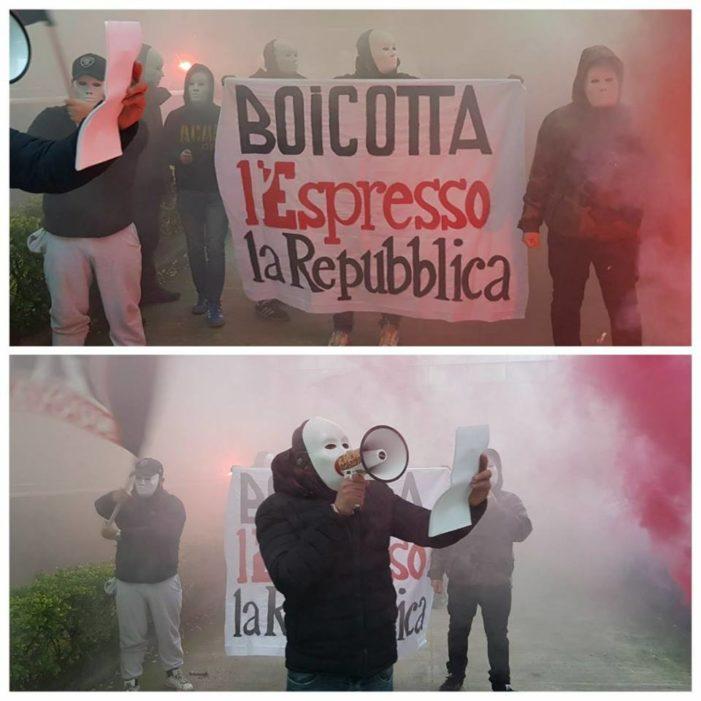 Blitz di Forza Nuova sotto la sede di Repubblica a Roma: oggi è stato solo il primo attacco