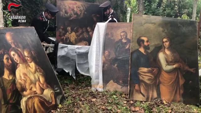 Blitz in una casolare di campagna, all'interno ritrovati dipinti del 600 rubati ad un hotel ai Parioli